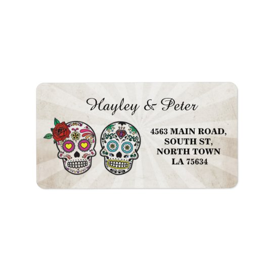 Sugar Skulls Halloween Address Stickers Labels