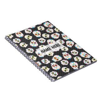 Sugar Skulls on Black with Polka Dots Personalized Notebook