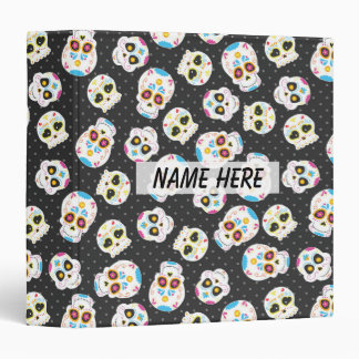 Sugar Skulls on Black with Polka Dots Personalized Vinyl Binder
