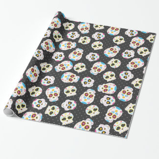 Sugar Skulls on Black with Polka Dots Wrapping Paper