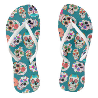 Sugar Skulls Pattern on Teal Flip Flops