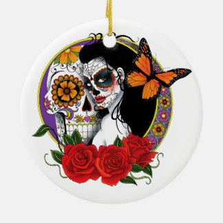 Sugar Skulls Round Ceramic Ornament