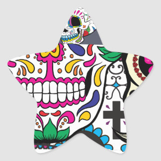 Sugar Skulls Watching You Star Sticker