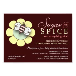 Sugar & Spice Baby Girl Baby Shower Invitation