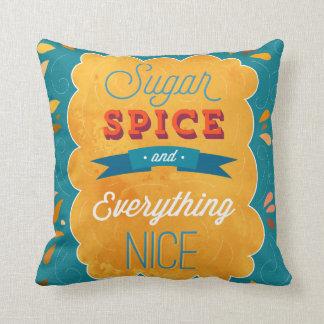sugar spice everything nice throw pillow
