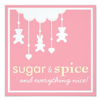 Sugar & Spice Girl Baby Shower Invitation