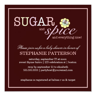 Sugar & Spice It's a Girl Baby Shower Invitation