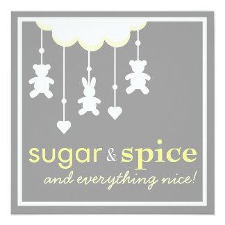"""Sugar & Spice Neutral Baby Shower Invitation 5.25"""" Square Invitation Card"""