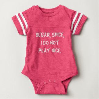 """Sugar, Spice"" Pink Funny Baby Bodysuit"