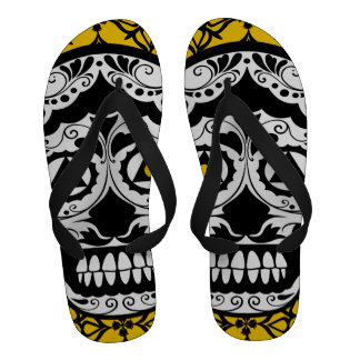 Sugar style skull on damask flip flops