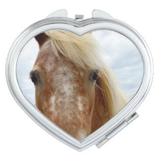 Sugar The Appaloosa Horse, Heart Compact Mirror. Makeup Mirror