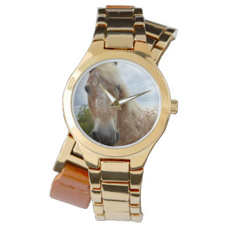 Sugar The Appaloosa Horse Ladies Gold Wrap Watch