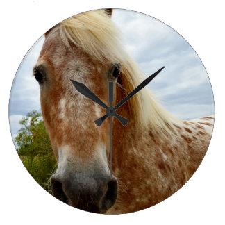 Sugar The Appaloosa Horse, Large Round Wall Clock. Large Clock