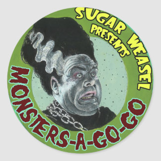 Sugar Weasel presents Monsters-A-Go-Go Round Sticker
