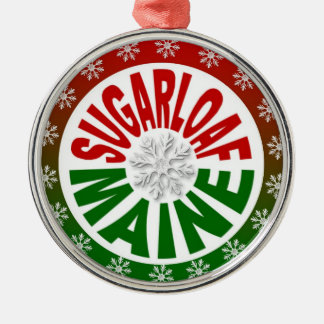 Sugarloaf Maine red green snowflake ornament