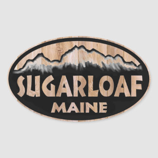 Sugarloaf Maine wooden oval stickers