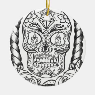 Sugarskull Tattoo Art By Sweetpieart Ceramic Ornament