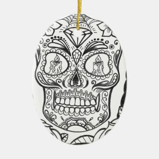Sugarskull Tattoo Art By Sweetpieart Ceramic Oval Ornament