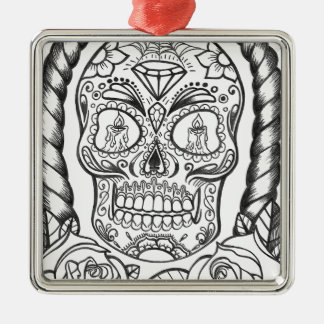 Sugarskull Tattoo Art By Sweetpieart Metal Ornament