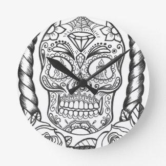 Sugarskull Tattoo Art By Sweetpieart Round Clock