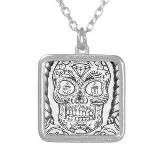 Sugarskull Tattoo Art By Sweetpieart Silver Plated Necklace