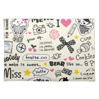 Sugary Sweet Girly Cartoon Sketches. Placemat