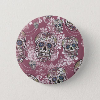 Sugary Sweet Mellow Sugar Skull. 2 Inch Round Button