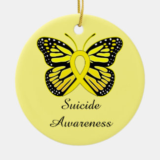 Suicide Butterfly Awareness Ribbon Ceramic Ornament