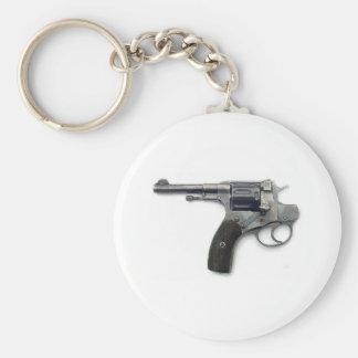 Suicide gun basic round button keychain