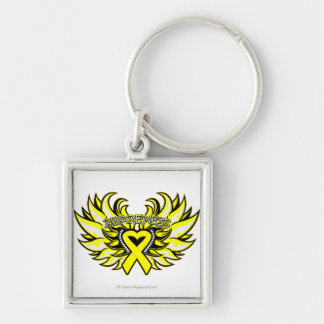 Suicide Prevention Awareness Heart Wings.png Silver-Colored Square Keychain