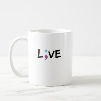 Suicide Prevention Awareness Semicolon Live Coffee Mug
