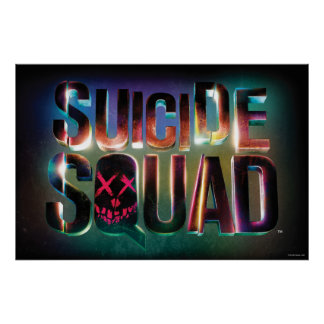 Suicide Squad | Colorful Glow Logo Poster