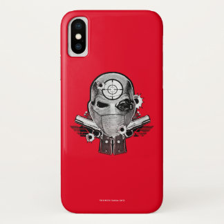 Suicide Squad | Deadshot Mask & Guns Tattoo Art iPhone X Case