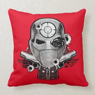 Suicide Squad | Deadshot Mask & Guns Tattoo Art Throw Pillow