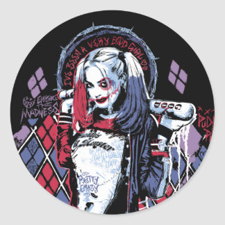 Suicide Squad | Harley Quinn Inked Graffiti Classic Round Sticker