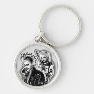 Suicide Squad | Joker & Harley Airbrush Tattoo Silver-Colored Round Keychain