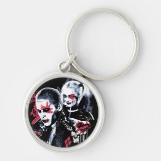 Suicide Squad | Joker & Harley Painted Graffiti Silver-Colored Round Keychain