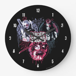 Suicide Squad | Squad Girls Graffiti Badges Large Clock