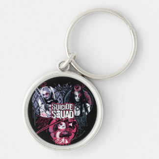 Suicide Squad | Squad Girls Graffiti Badges Silver-Colored Round Keychain
