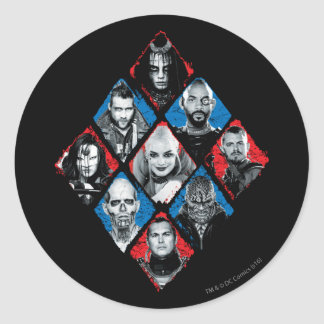 Suicide Squad | Task Force X Checkered Diamond Round Sticker