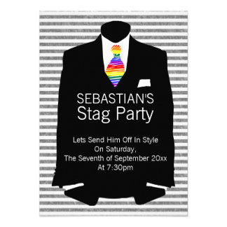 Suit and Rainbow Tie Gay Stag Party Personalized Invitations