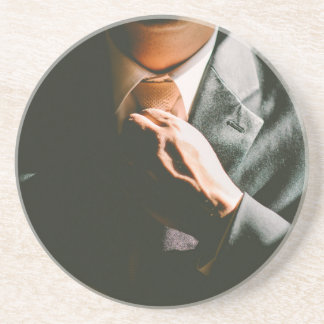 Suit businessman tie shadow effect coaster