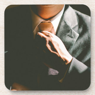 Suit businessman tie shadow effect drink coaster
