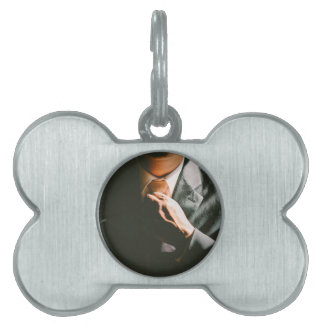 Suit businessman tie shadow effect pet ID tags