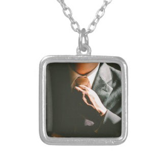 Suit businessman tie shadow effect silver plated necklace