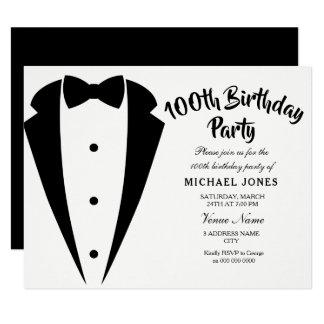 Suit & Tie mens 100th birthday party invitation
