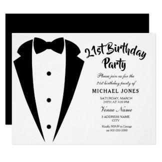 Suit & Tie mens 21st birthday party invitation
