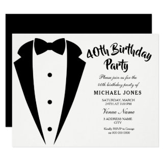 Suit & Tie mens 40th birthday party invitation