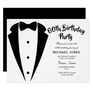 Suit & Tie mens 60th birthday party invitation