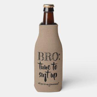 Suit Up - Funny Groomsman Proposal Bottle Cooler